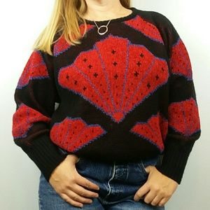 Vintage Wool Blend Knit Sweater Fans Chenille Red